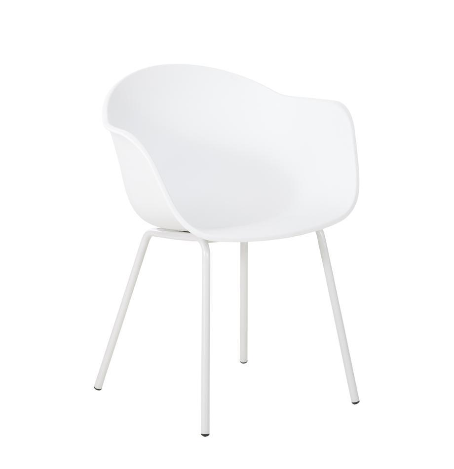 Kunststoff-Armlehnstuhl Claire mit Metallbeinen, Sitzschale: Kunststoff, Beine: Metall, pulverbeschichtet, Weiß, B 60 x T 54 cm