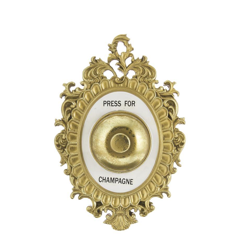 Wandobject Bell van porselein, Lijst: polyresin, Stolp: metaal, Goudkleurig, wit, zwart, 14 x 23 cm