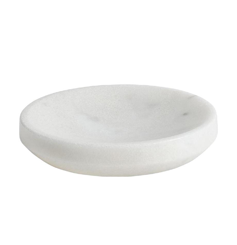 Marmor-Seifenschale Lux, Marmor, Weiss, Ø 12 x H 3 cm