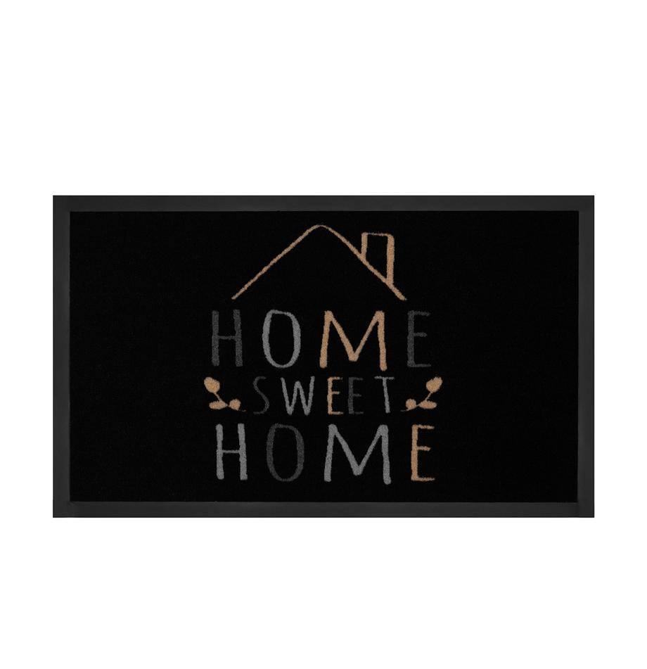 Zerbino Home Sweet Home, Retro: gomma, Nero, grigio, beige, Larg. 45 x Lung. 75 cm