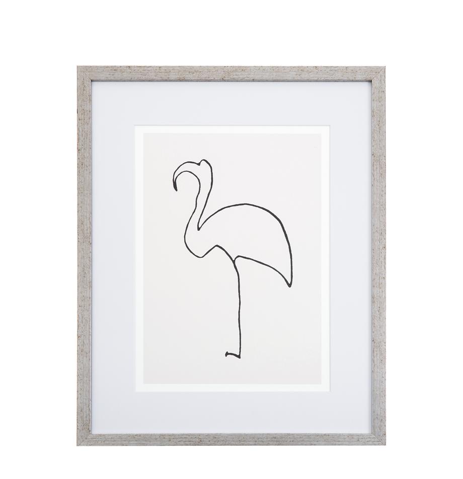 Gerahmter Digitaldruck Picasso's Flamingo, Bild: Digitaldruck, Rahmen: Kunststoff, Antik-Finish, Front: Glas, Bild: Schwarz, Weiss<br>Rahmen: Silberfarben, 40 x 50 cm