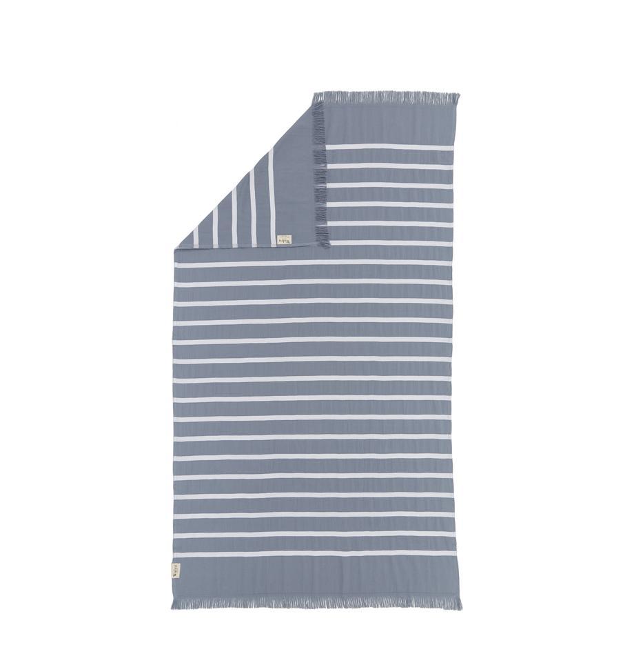Gestreepte hamamdoek Filena, 100% katoen, Blauw, wit, 100 x 180 cm