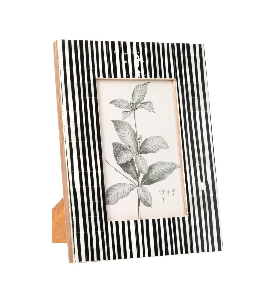 Cornice da tavolo a righe Stripe, Cornice: osso di bufalo, Retro: Pannelli di fibra a media, Nero, bianco, 10 x 15 cm