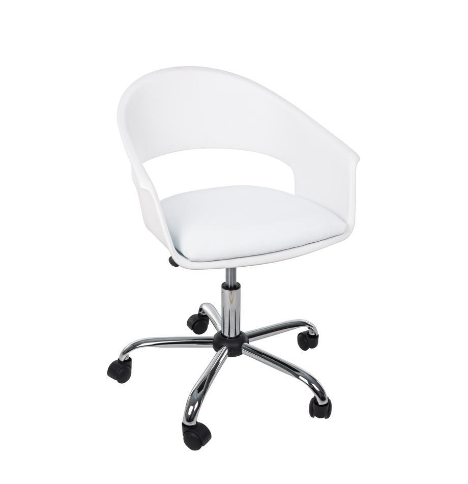 Bürodrehstuhl Wells, höhenverstellbar, Sitzschale: Kunststoff, Sitzfläche: Kunstleder, Gestell: Metall, verchromt, Rollen: Kunststoff, Weiß, B 50 x T 58 cm