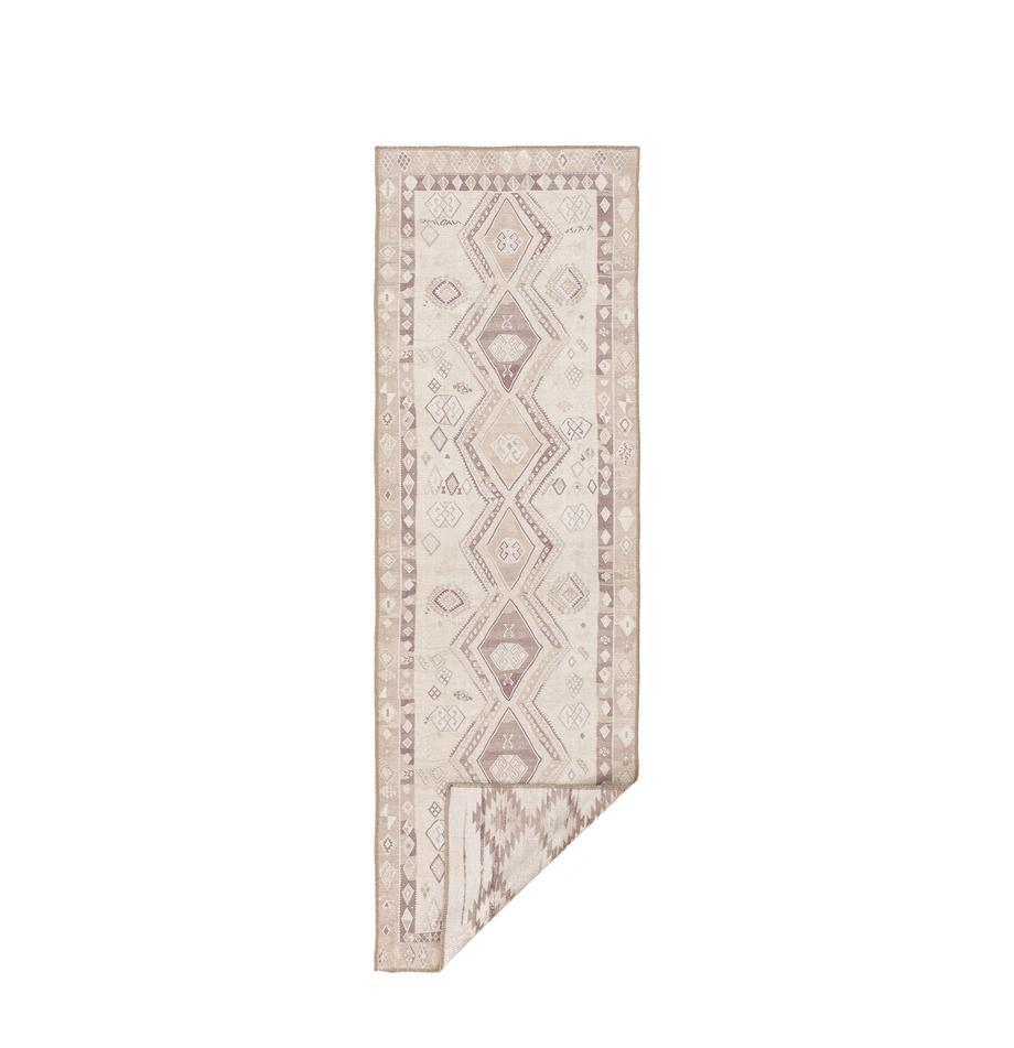 Alfombra kilim reversible Ana Aztec, estilo étnico, 80%poliéster, 20%algodón, Beige, gris pardo, An 75 x L 230 cm