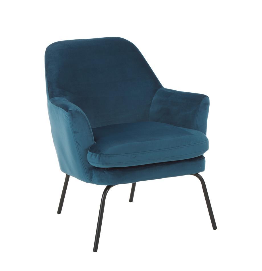 Samt-Cocktailsessel Chisa in Blau, Bezug: Polyester (Samt) Der hoch, Beine: Metall, pulverbeschichtet, Samt Marineblau, B 68 x T 73 cm