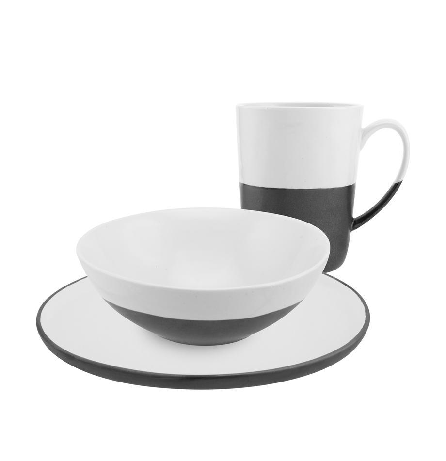 Handgemaakte ontbijtset Esrum, 12-delig, Bovenzijde: glad geglazuurde keramiek, Onderzijde: natuurlijke keramiek, Ivoorkleurig, zwart, Set met verschillende formaten
