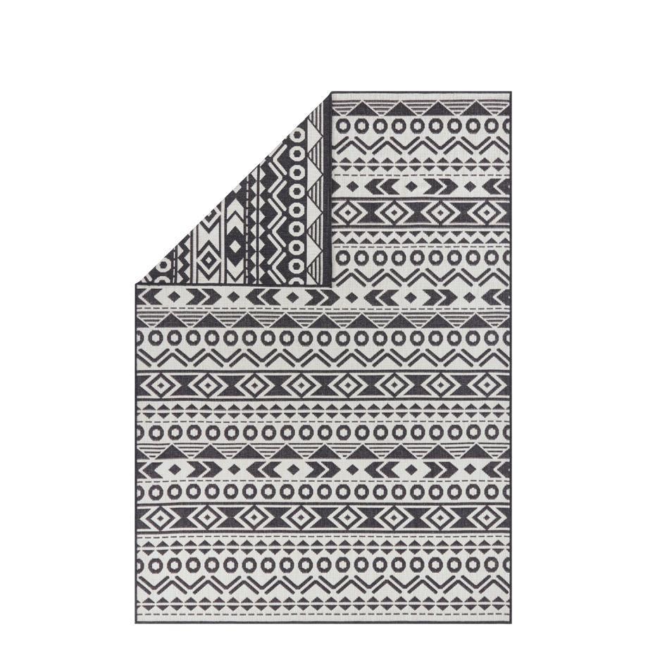 In- & Outdoor-Wendeteppich Baha mit Ethnomuster, 100% Polypropylen, Schwarz, Hellbeige, B 80 x L 150 cm (Größe XS)