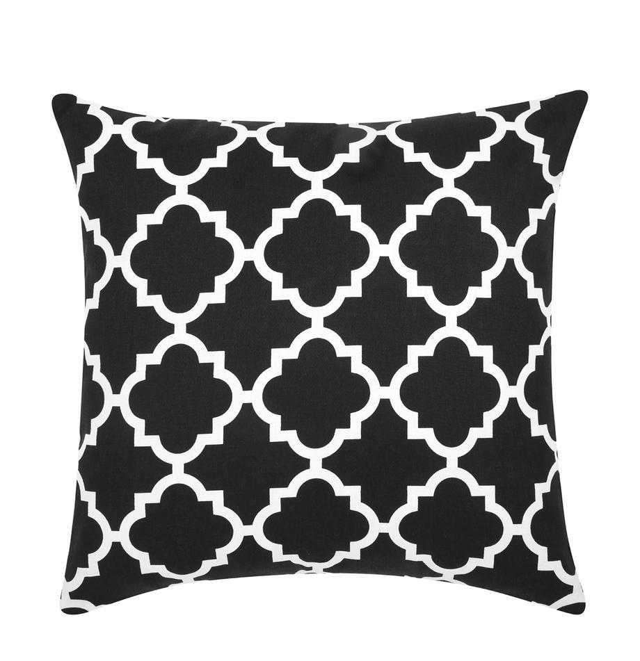 Kussenhoes Lana in zwart met grafisch patroon, 100% katoen, Zwart, wit, 45 x 45 cm