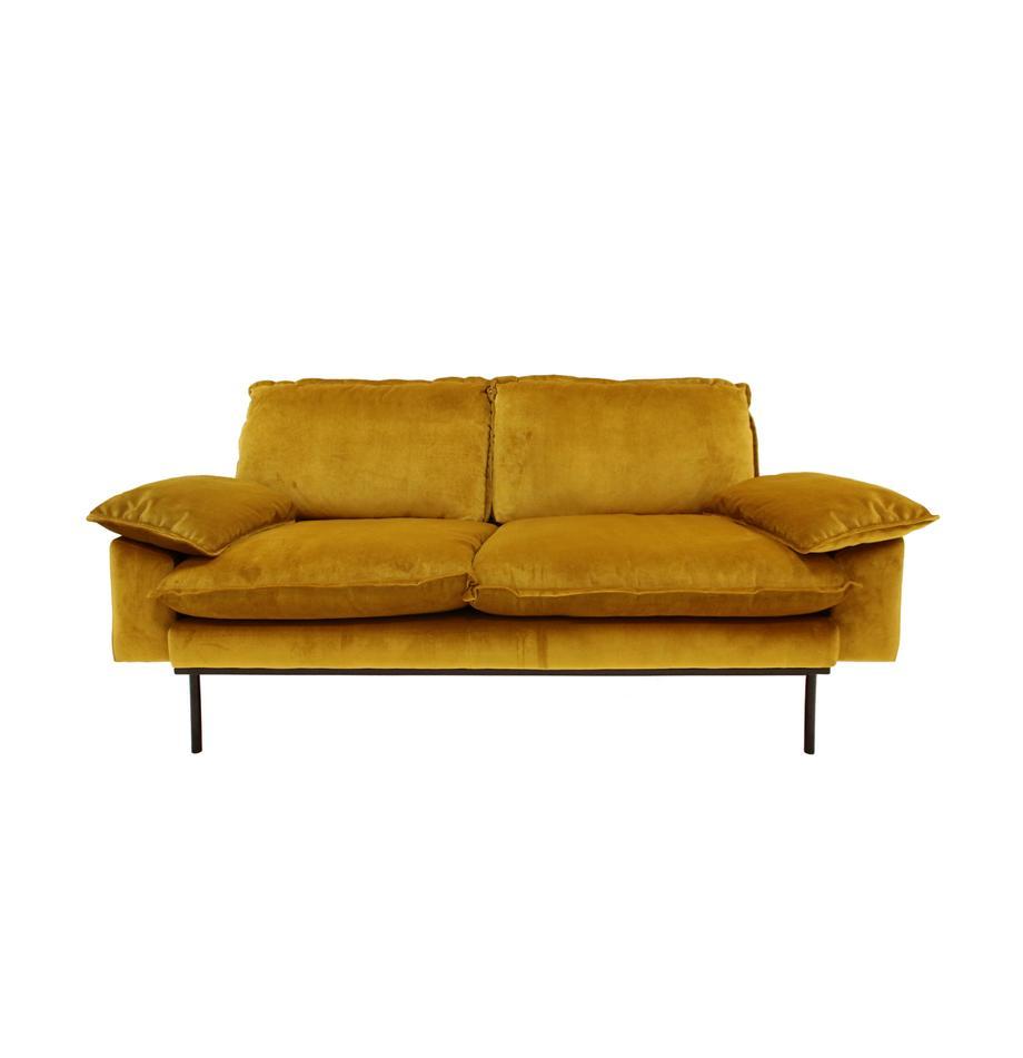 Fluwelen bank Retro (2-zits), Bekleding: polyester fluweel, Frame: MDF, houtvezelplaat, Poten: gepoedercoat metaal, Fluweel okergeel, B 175 x D 83 cm