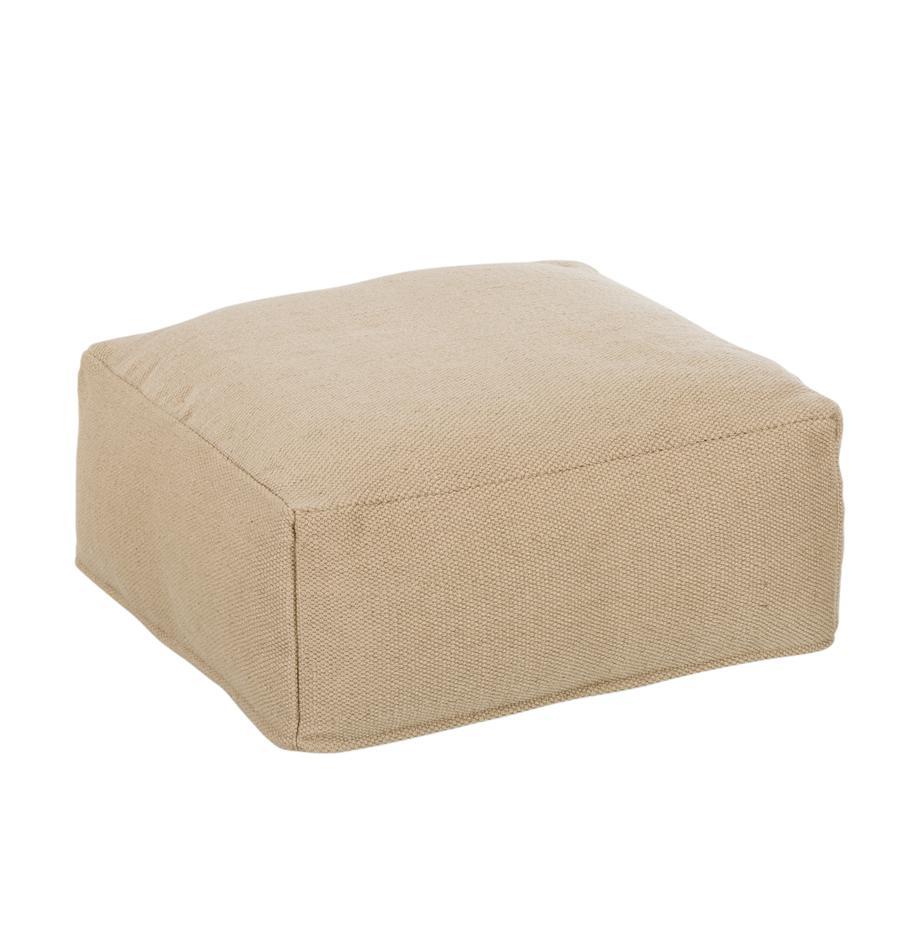 Cojín de suelo para interior/exterior Khela, Funda: 100%poliéster reciclado, Interior: poliéster, Beige, An 60 x Al 25 cm