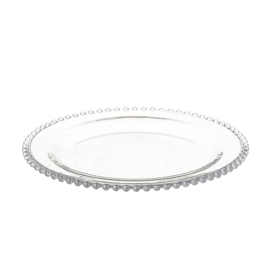 Talerz deserowy Perles, 2 szt., Szkło, Transparentny, Ø 21 cm