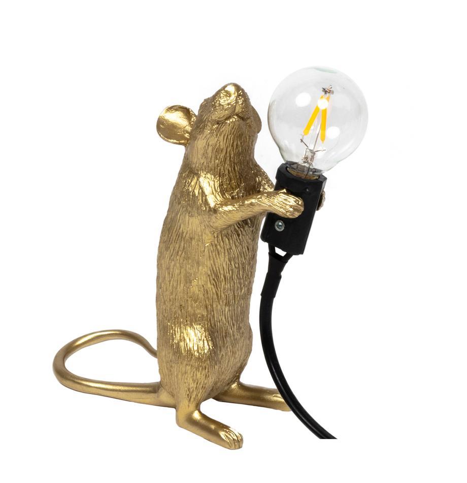 Lampada da tavolo a LED Mouse, Lampada: resina sintetica, Dorato, Larg. 6 x Alt. 15 cm