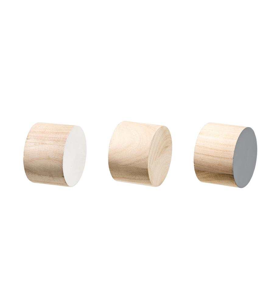 Set 3 ganci appendiabiti in legno Dendi, Legno di Paulownia, Marrone, bianco, grigio, Ø 7 x Prof. 5 cm