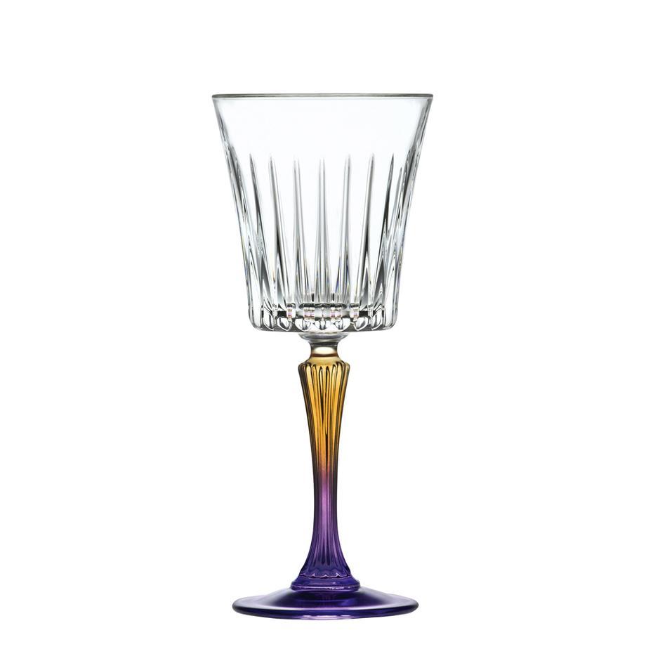 Kieliszek do białego  wina z kryształu Gipsy, 6 szt., Szkło kryształowe, Transparentny, pomarańczowy, lila, Ø 9 x 21 cm
