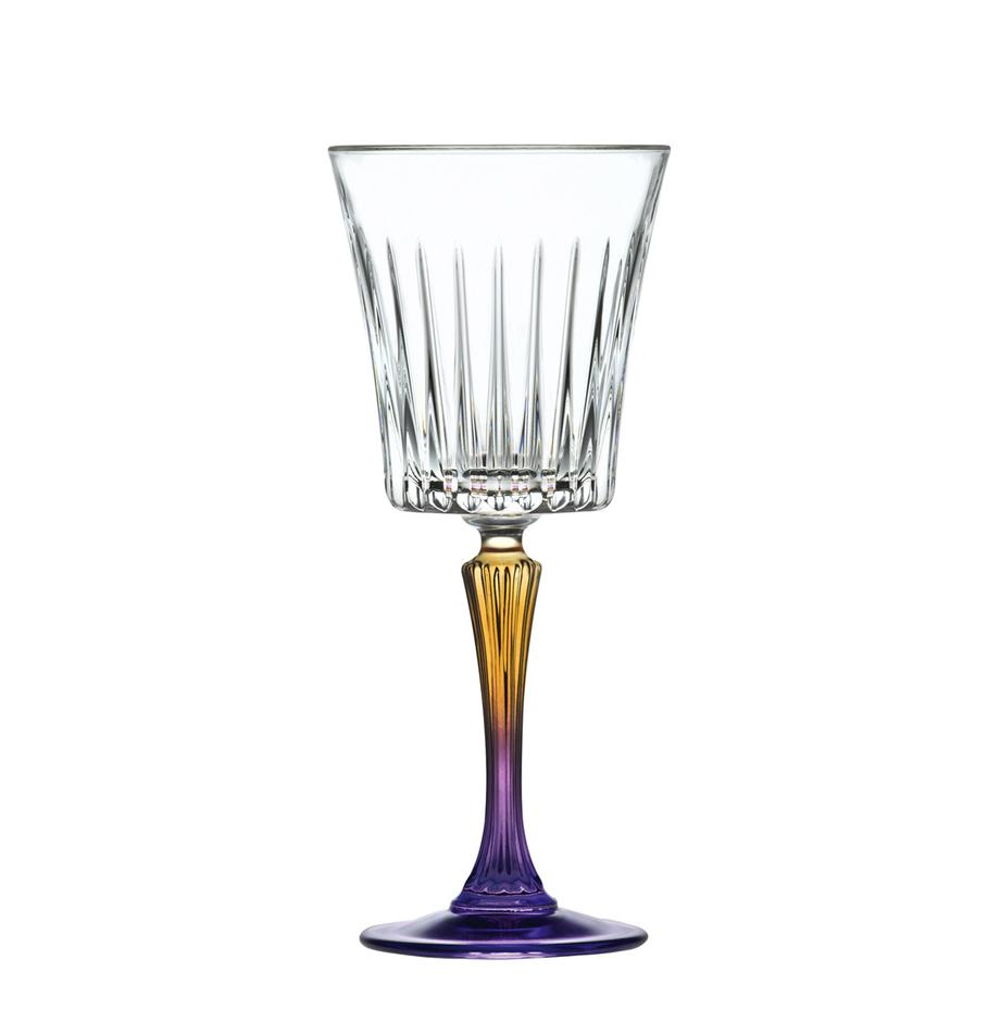 Kristallen wittewijnglas  Gipsy, 6 stuks, Luxion kristalglas, Transparant, geelgoudkleurig, lila, Ø 9 x H 21 cm