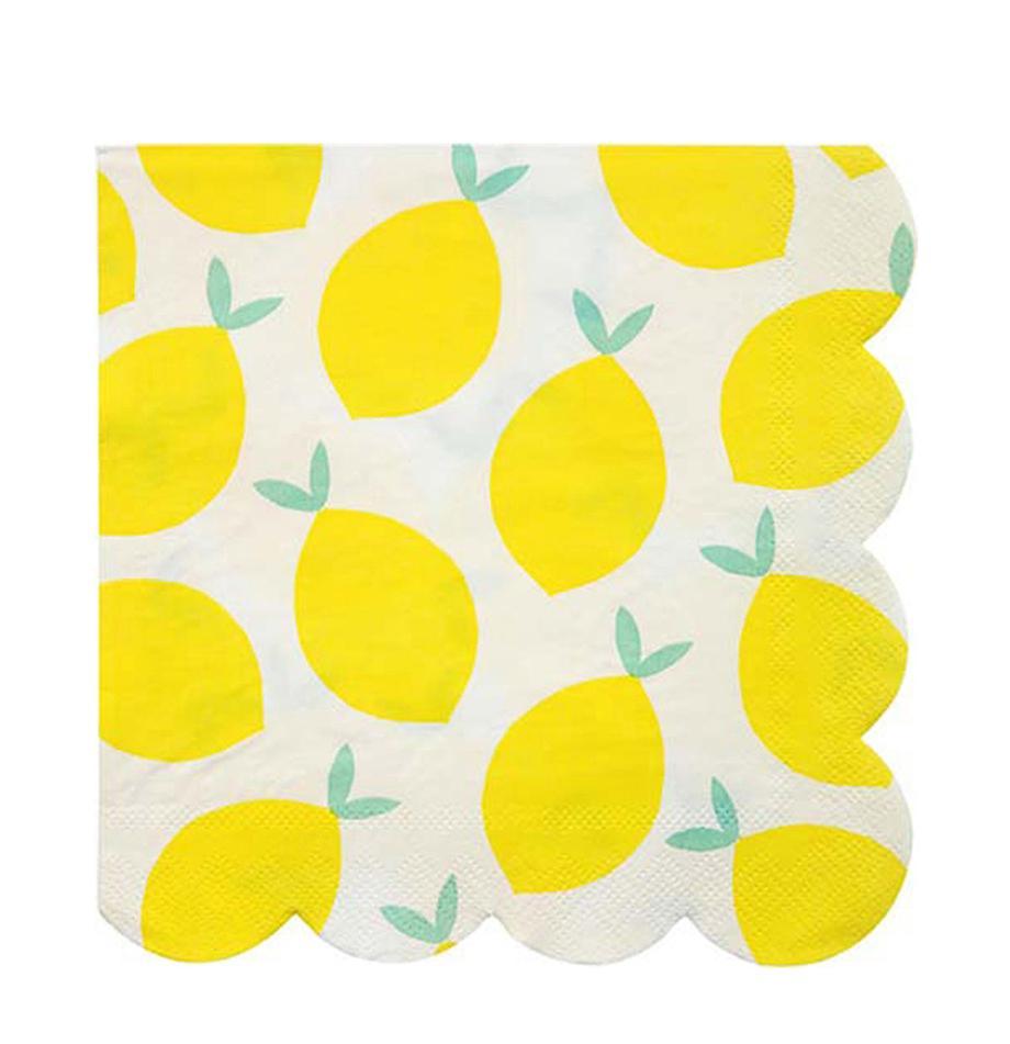 Papier-Servietten Lemon, 20 Stück, Papier, Weiß, Gelb, Grün, 33 x 33 cm