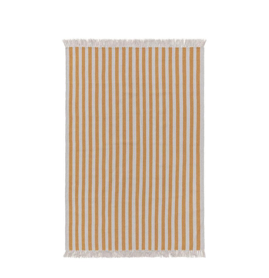 Dywan z wełny Gitta, 90% wełna, 10% bawełna Włókna dywanów wełnianych mogą nieznacznie rozluźniać się w pierwszych tygodniach użytkowania, co ustępuje po pewnym czasie, Żółty, jasny szary, S 80 x D 150 cm (Rozmiar XS)