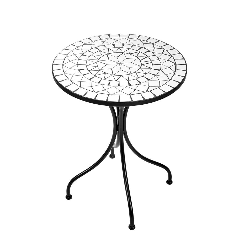 Tavolino da giardino con mosaico Palazzo, Gambe: metallo verniciato a polv, Bianco, nero, Ø 55 x Alt. 71 cm