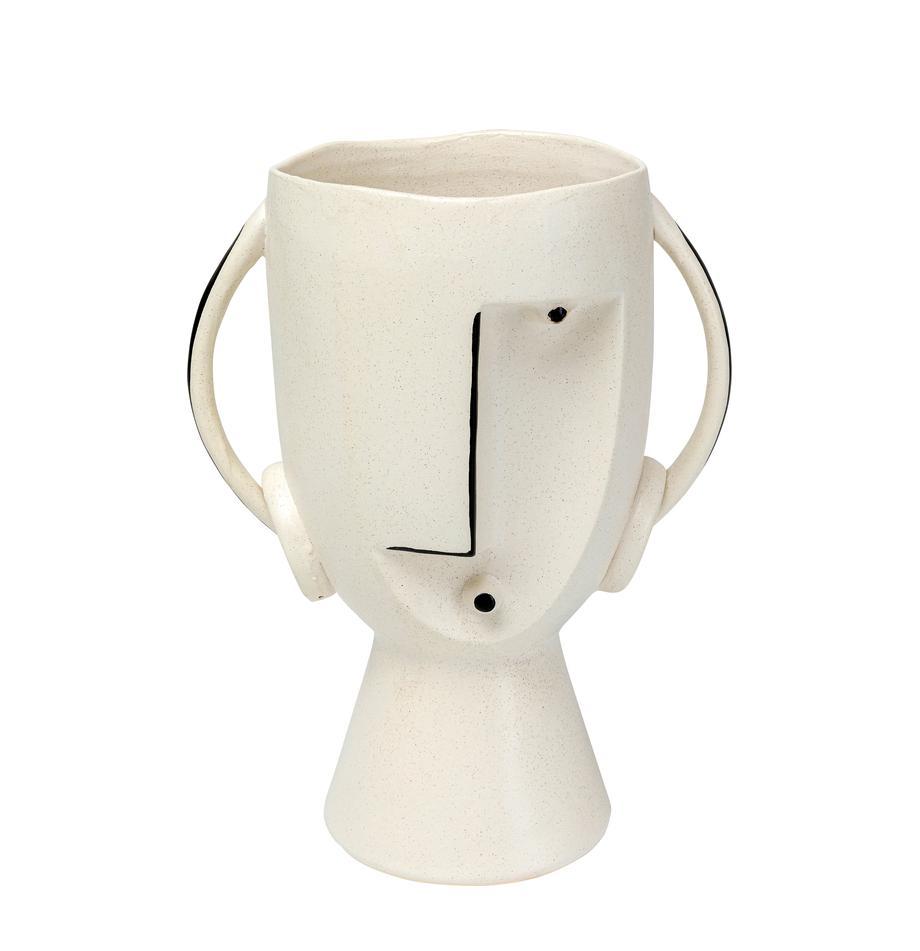 Duży wazon z kamionki Face, Kamionka, Biały, czarny, S 23 x W 30 cm
