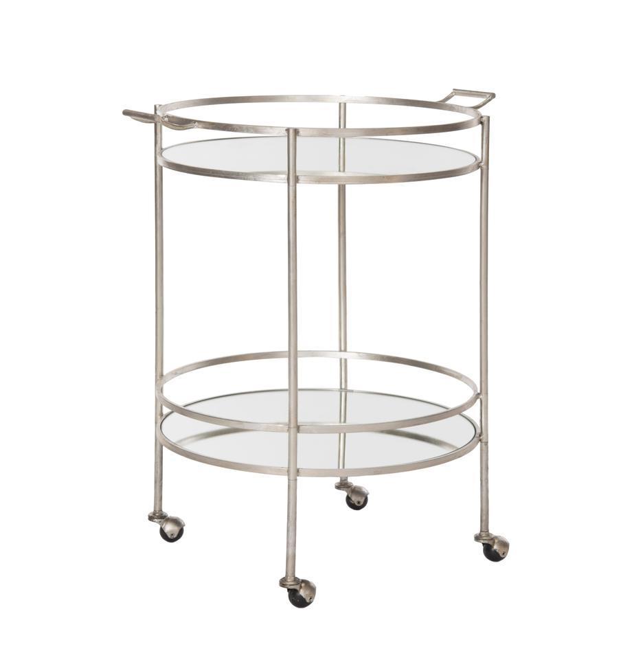 Metall-Servierwagen Harper, Gestell: Eisen, mit Antik-Finish, Platte: Glas, verspiegelt, Gestell: MetallPlatte: Glas, verspiegelt, B 64 x T 50 cm