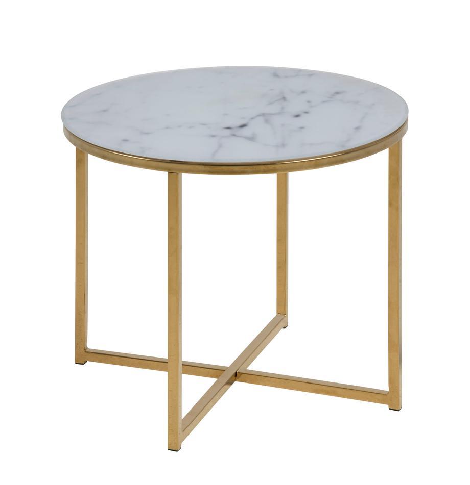 Mesa auxiliar Aruba, tablero de cristal en efecto mármol, Tablero: vidrio estampado en efect, Estructura: acero, latón, Blanco, latón, Ø 50 x Al 42 cm