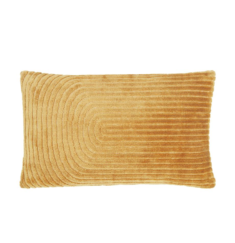 Federa arredo in velluto con motivo strutturato Carraway, Retro: 100% cotone, Giallo senape, Larg. 30 x Lung. 50 cm