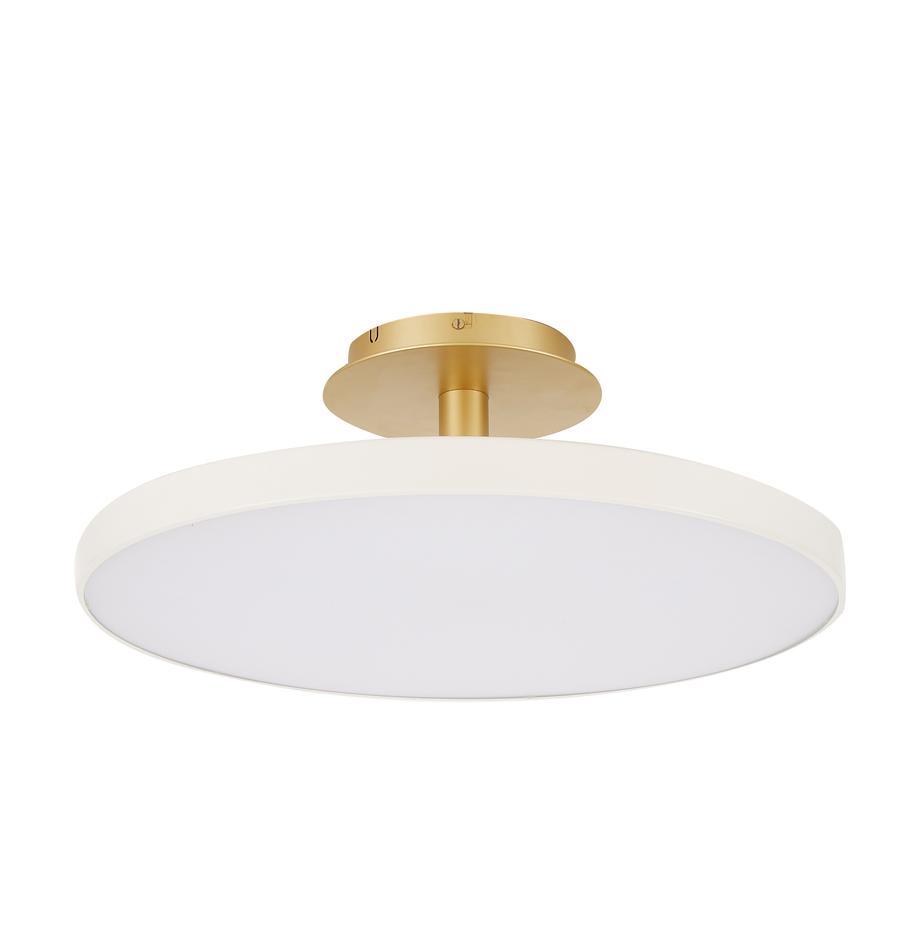 Plafoniera a LED di design Asteria, Paralume: alluminio verniciato, Bianco crema, dorato, Ø 60 x Alt. 21 cm