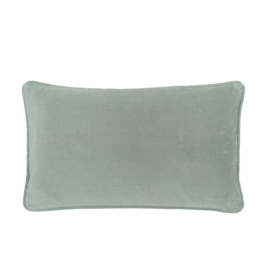 Poszewka na poduszkę z aksamitu Dana, 100% aksamit bawełniany, Szałwiowy zielony, S 30 x D 50 cm