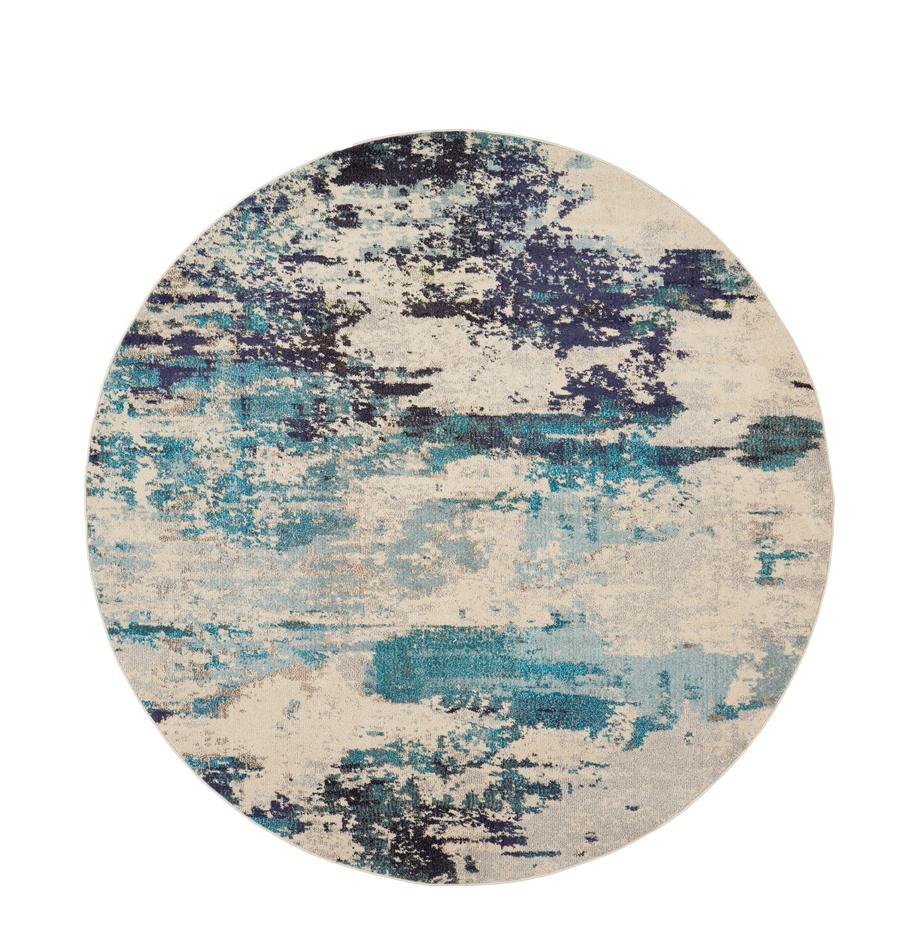 Runder Designteppich Celestial in Blau-Creme, Flor: 100% Polypropylen, Elfenbeinfarben, Blautöne, Ø 160 cm (Grösse L)