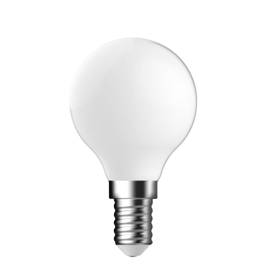 Bombillas E14, 2.5W, blanco cálido, 2uds., Ampolla: vidrio, Casquillo: aluminio, Blanco, Ø 5 x Al 8 cm