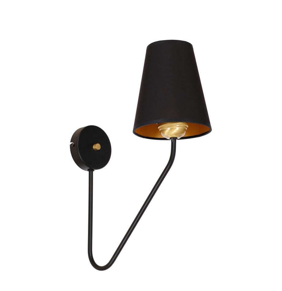 Kinkiet Victoria, Korpus: drewno jesionowe, czarny lakierowany Noga: odcienie złotego, S 15 x W 50 cm