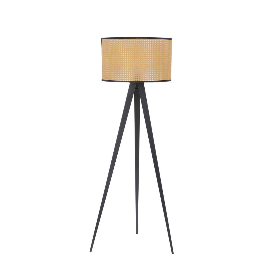 Lámpara de pie trípode con tejido vienés Vienna, Pantalla: plástico, Cable: tela, Beige, negro, Ø 50 x Al 154 cm