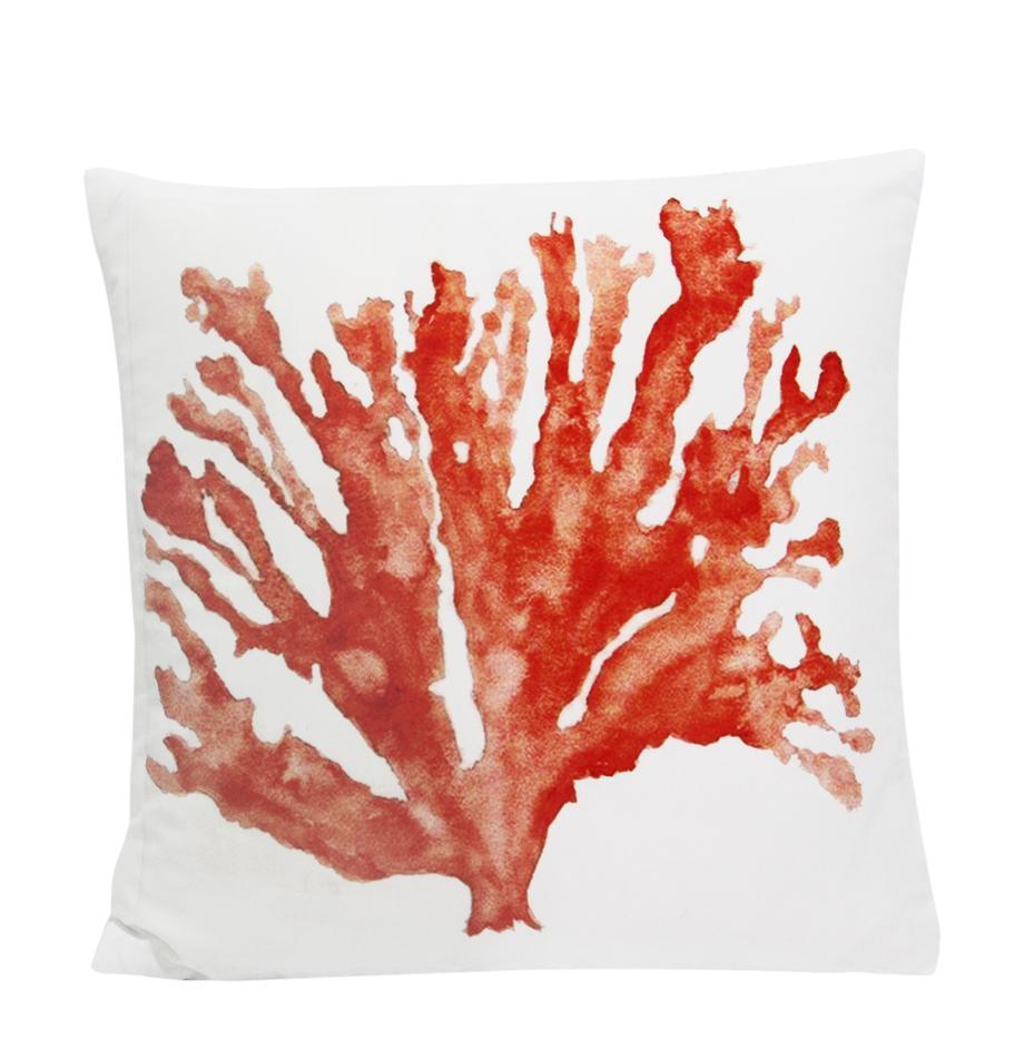 Funda de cojín Coral, 100%poliéster, Blanco, coral, An 45 x L 45 cm
