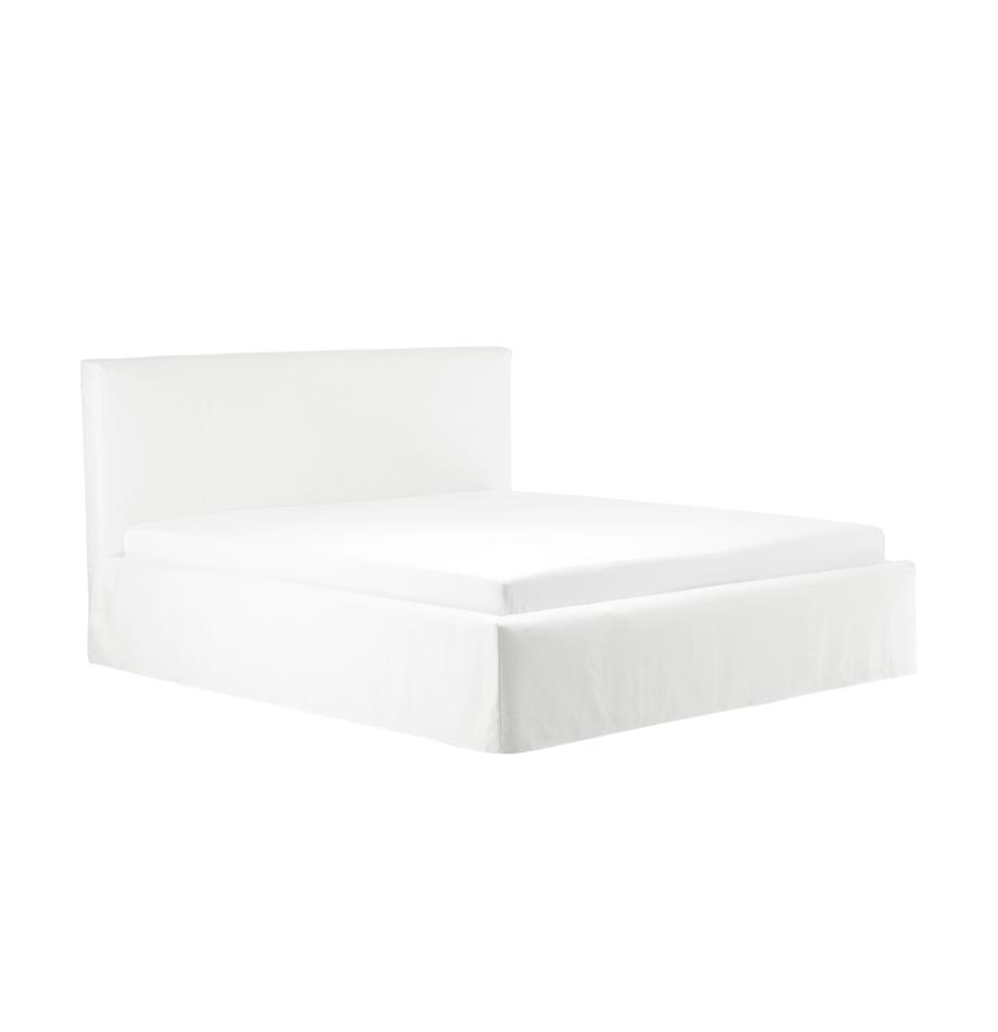 Roomwit gestoffeerd bed Feather met opbergruimte, Frame: massief grenenhout en pla, Bekleding: polyester (gestructureerd, Crèmewit, 140 x 200 cm