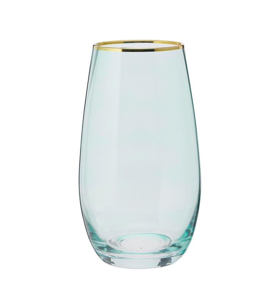 Vasos highball Chloe, 4uds., Vidrio, Azul claro, Ø 9 x Al 16 cm