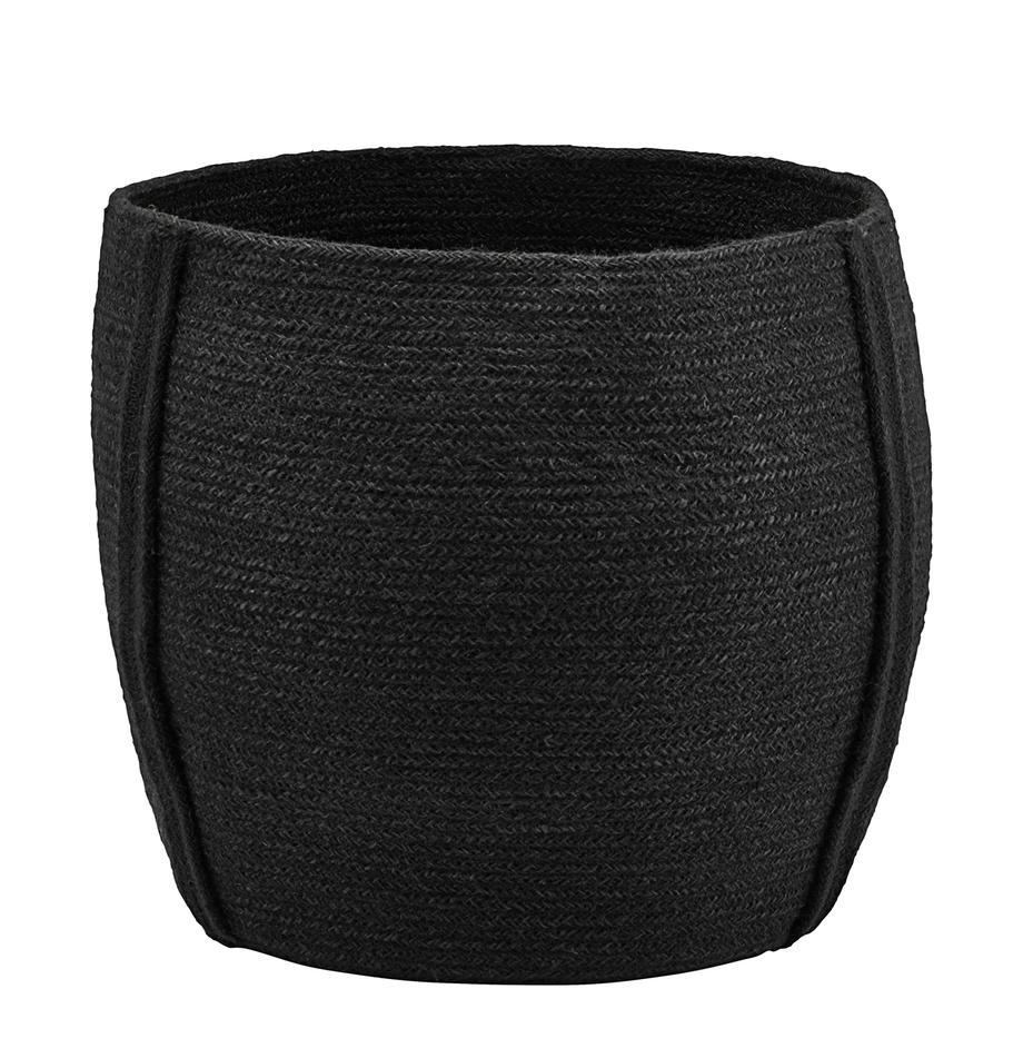 Aufbewahrungskorb Drum, Jute, Schwarz, Ø 40 x H 35 cm