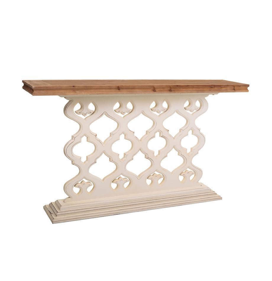 Consola de madera de abeto Marino, Blanco, Marrón, An 142 x Al 79 cm
