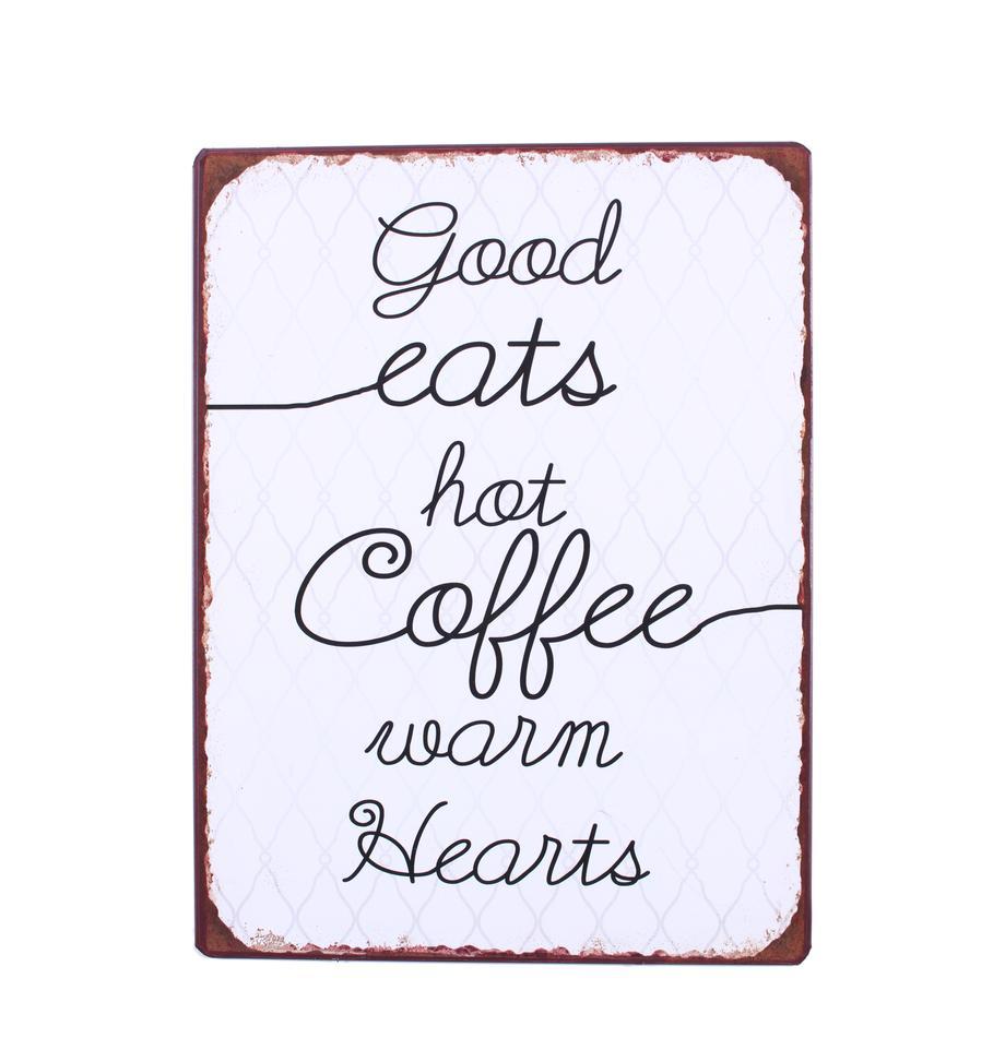 Wandbord Good eats, hot coffee, warm hearts, Gecoat metaal, Wit, zwart, bruin, 27 x 35 cm