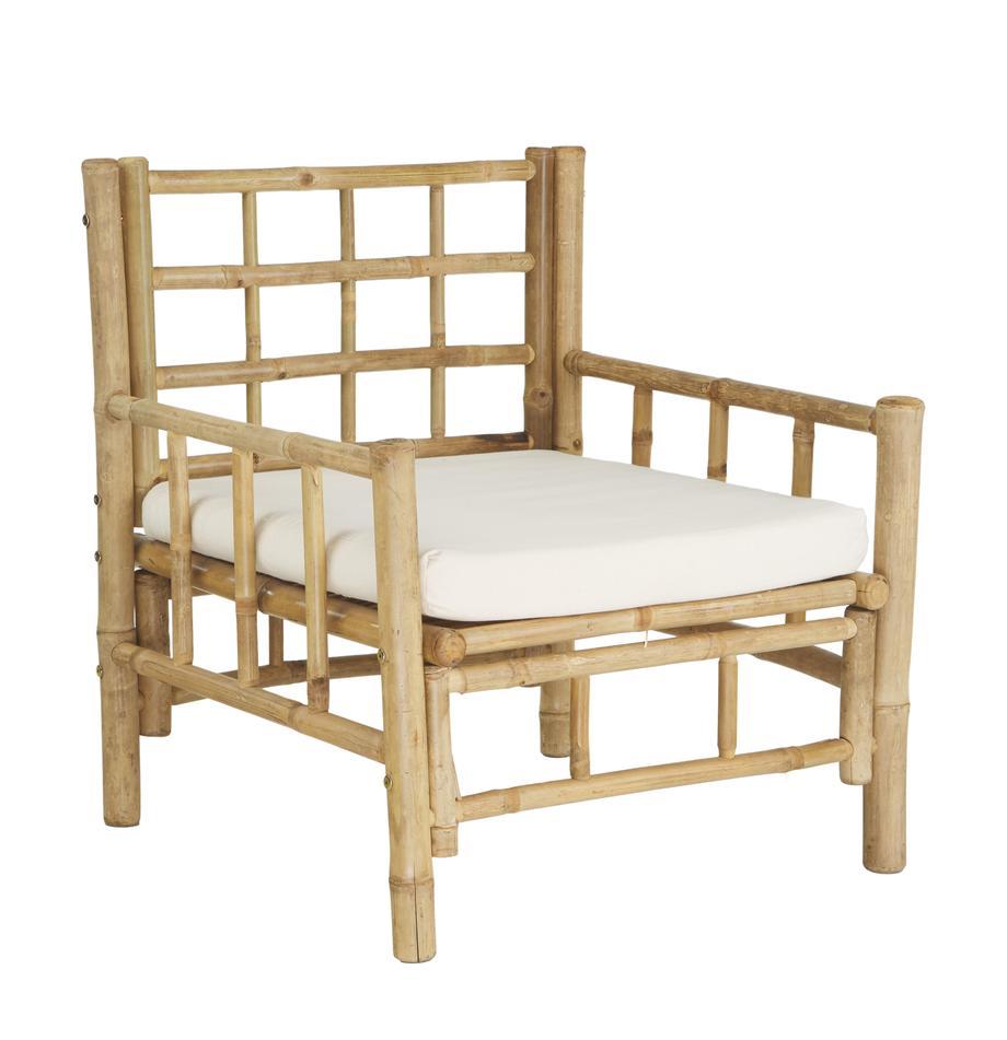Bambus-Sessel Mandisa mit Sitzpolster, Gestell: Bambus, unbehandelt, Bezug: Segeltuch, Bambus, Weiss, B 70 x T 70 cm