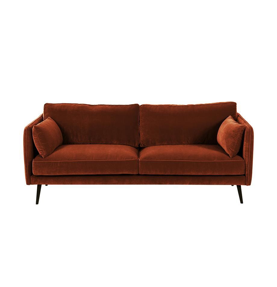 Samt-Sofa Paola (3-Sitzer) in Rostrot mit Holz-Füßen, Bezug: Samt (Polyester) 70.000 S, Gestell: Massives Fichtenholz, Spa, Füße: Fichtenholz, lackiert, Samt Rostrot, 209 x 86 cm