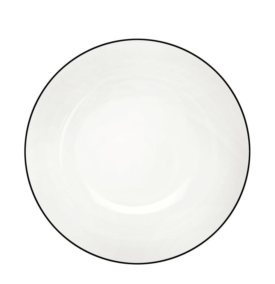 Dessertteller á table ligne noir mit schwarzem Rand, 4 Stück, Fine Bone China (Porzellan) Fine Bone China ist ein Weichporzellan, das sich besonders durch seinen strahlenden, durchscheinenden Glanz auszeichnet., Weiß<br>Rand: Schwarz, Ø 21 cm