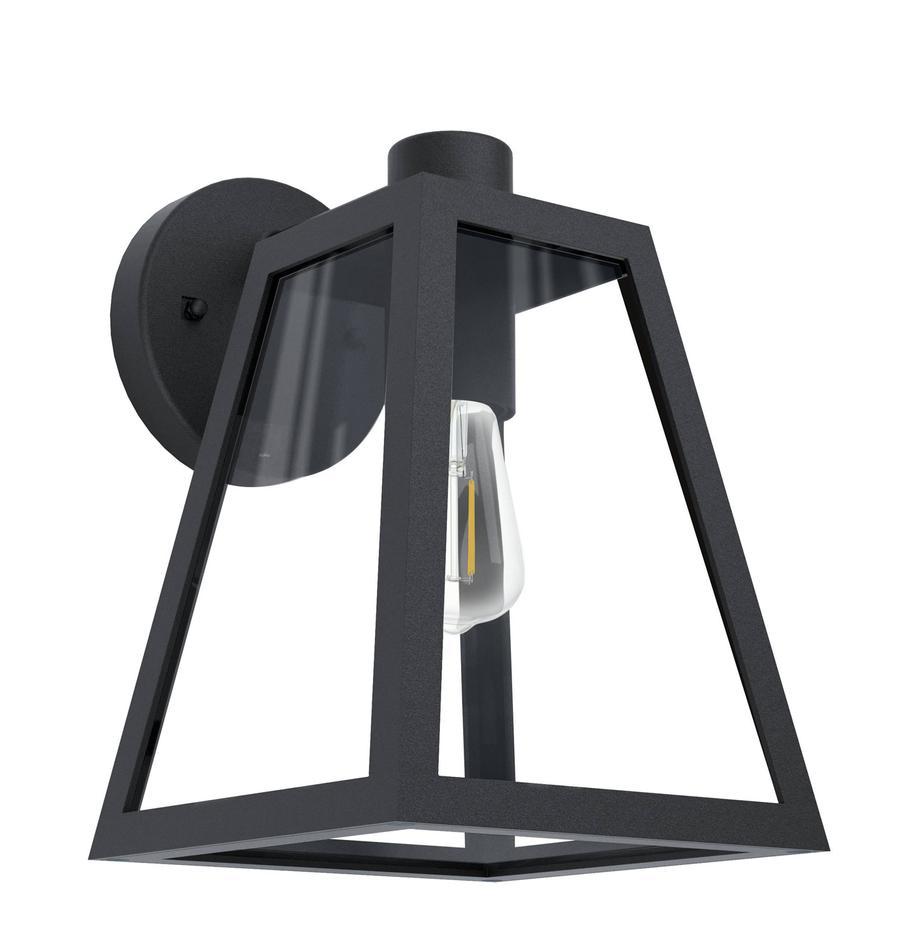 Aussenwandleuchte Mirandola mit Glasschirm, Lampenschirm: Glas, Schwarz, 18 x 27 cm