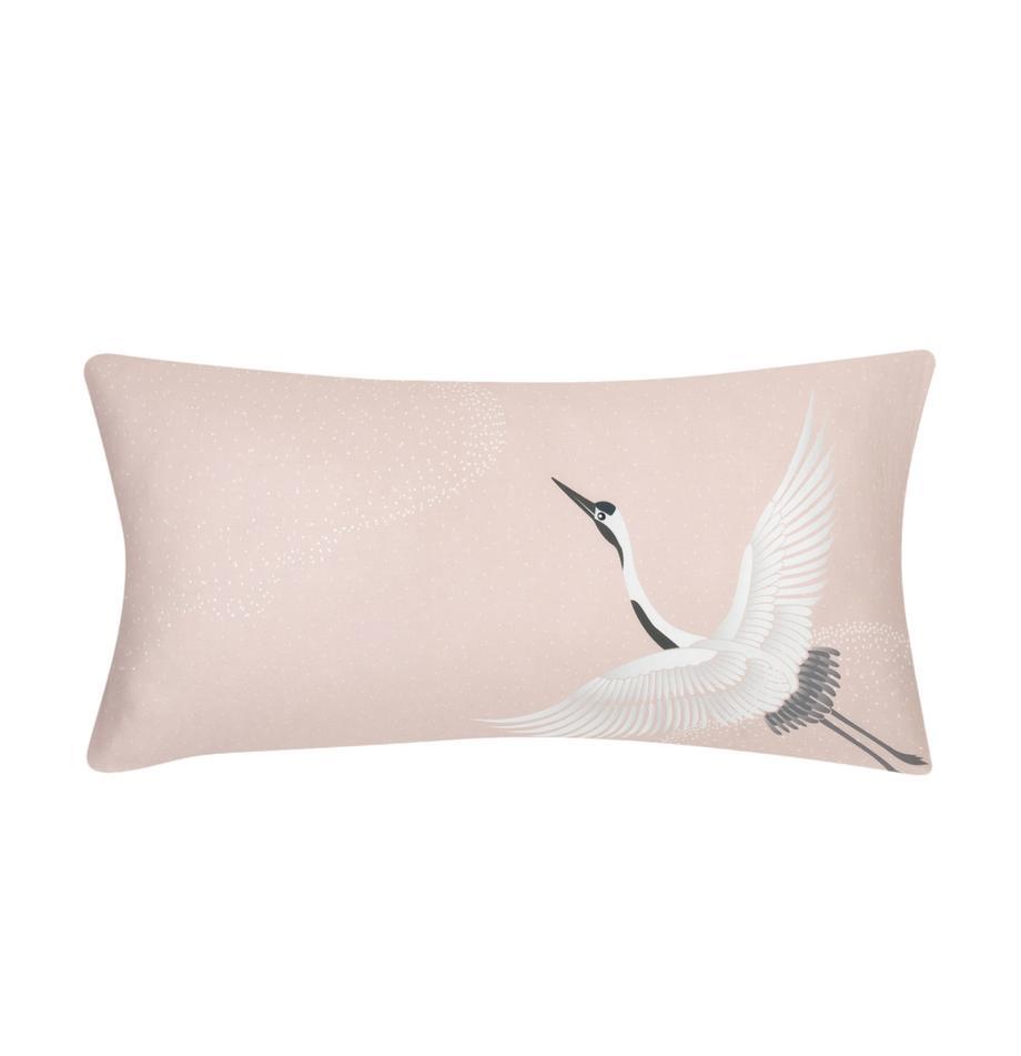 Poszewka na poduszkę z satyny bawełnianej Yuma, 2 szt., Blady różowy, biały, szary, S 40 x D 80 cm