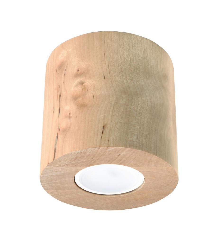 Deckenspot Roda aus Holz, Hellbraun, Ø 10 x H 12 cm
