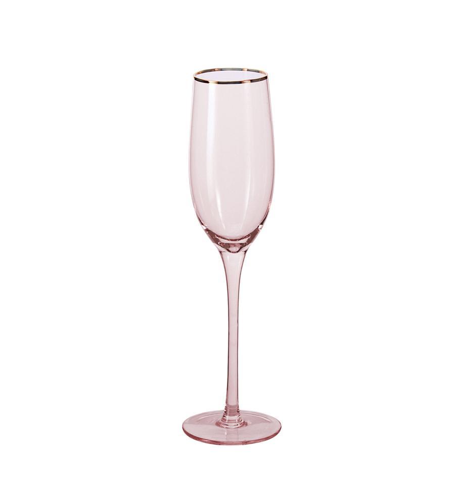 Champagneglazen Chloe in roze met handgeschilderde goudkleurig rand, 4er-set, Glas, Perzikkleurig, Ø 7 x H 25 cm