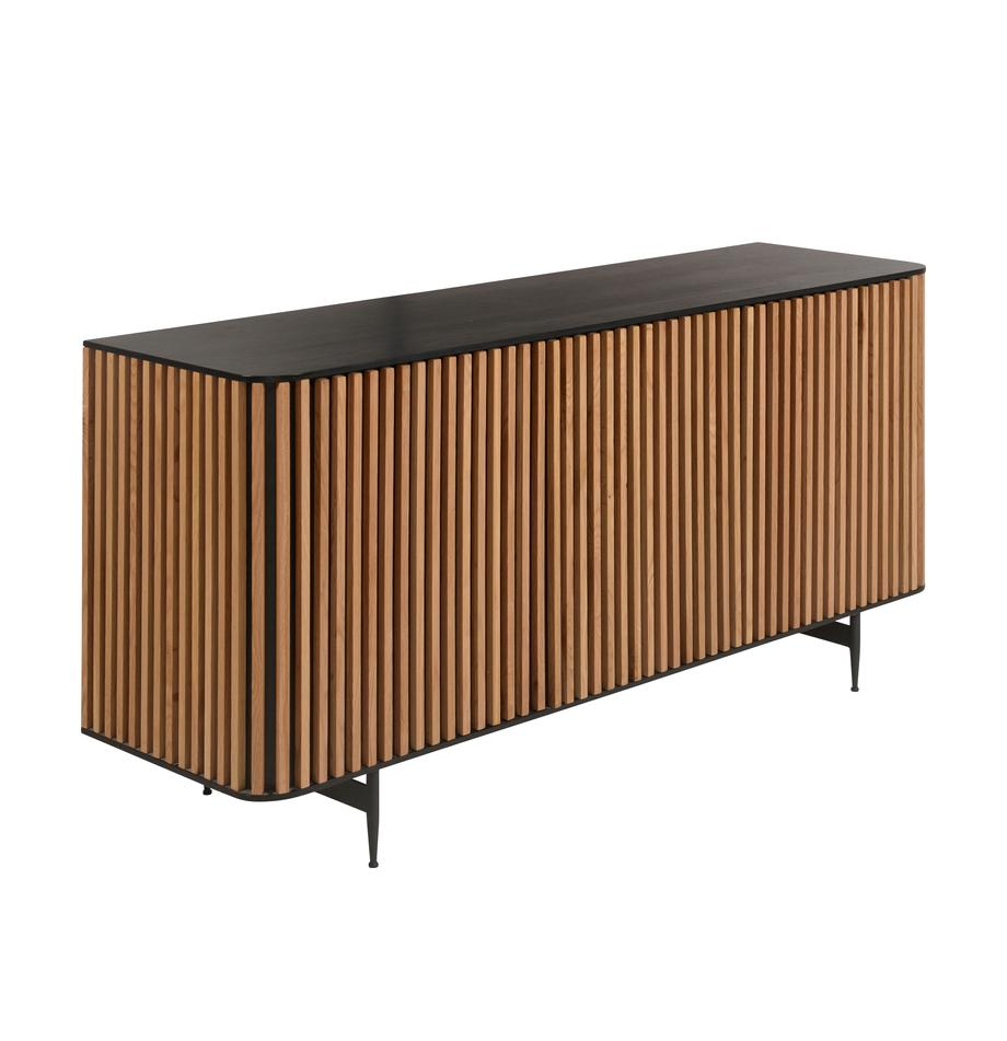 Design-Sideboard Linea mit Türen und Eichenholzfurnier, Korpus: Mitteldichte Holzfaserpla, Füße: Metall, lackiert, Schwarz, Eichenholz, 159 x 74 cm