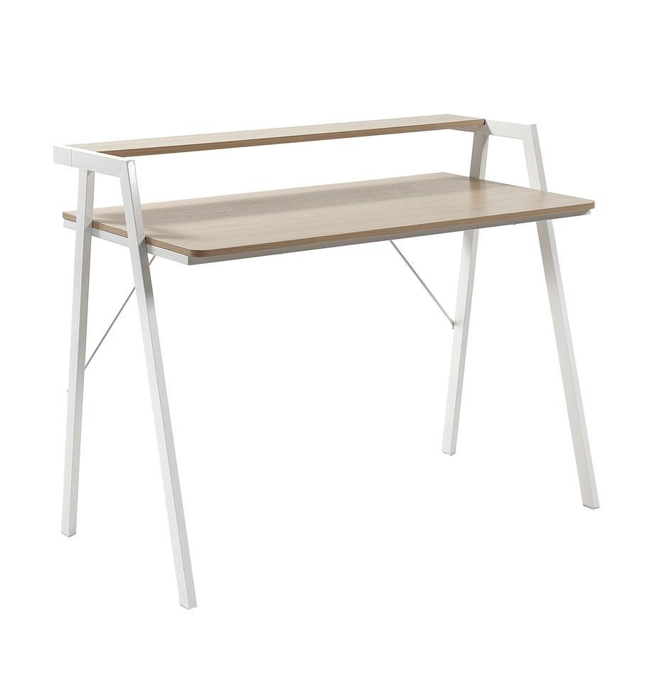 Schreibtisch  Alanna aus Eichenholz, Tischplatte: Mitteldichte Holzfaserpla, Gestell: Metall, lackiert, Eichenholz, Weiss, B 115 x T 60 cm