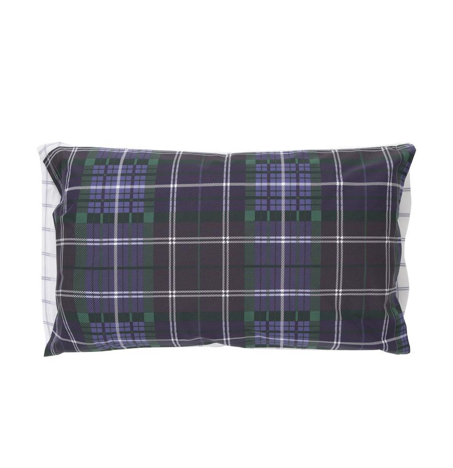 Funda de almohada Tartan Check, Algodón, Azul, verde, lila, blanco, An 50 x L 110 cm