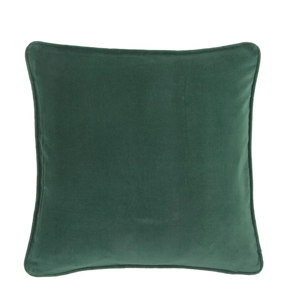 Funda de cojín de terciopelo Dana, 100%terciopelo de algodón, Verde esmeralda, An 40 x L 40 cm